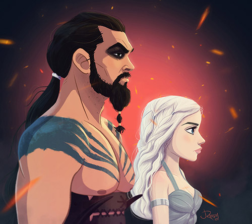 Daenerys and Khal Drogo illustration
